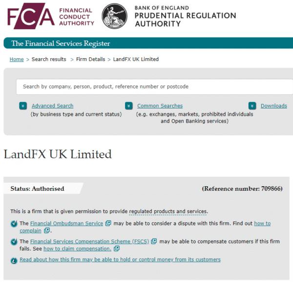 英国金融行動監視機構(FCA)の登録状況