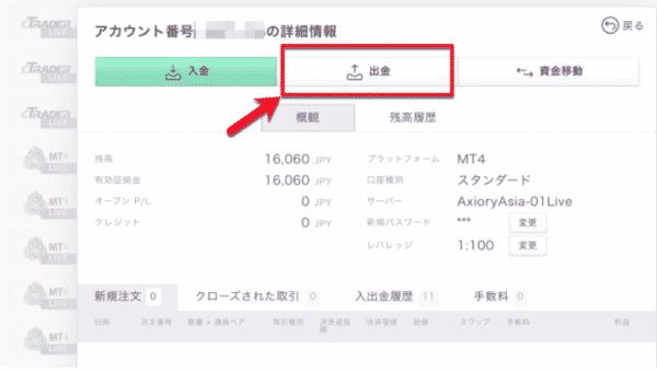 1.AXIORYの会員サイトのメニューから「出金」を選択