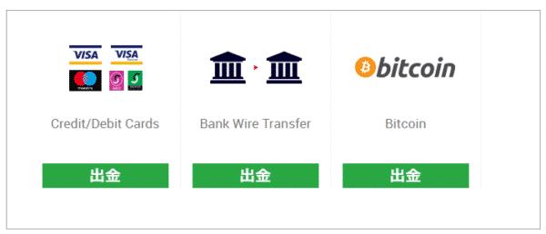 出金方法一覧から「海外送金」を選択する